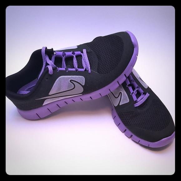 Run 3 Black Purple Girl Sneakers